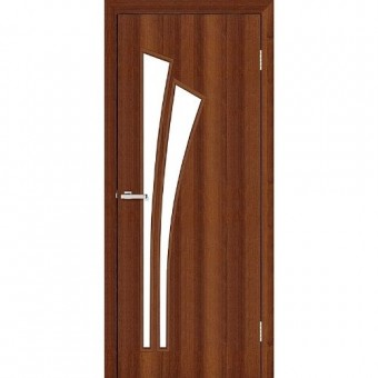 Изображение Дверь МДФ Модельные Пальма ПО 800 стекло сатин/орех