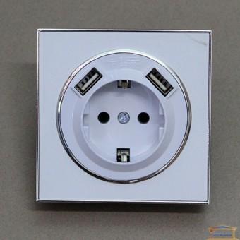 Изображение Розетка 1-я белая RH LAURA внутр.с заземл +2 USB (HN-015241)