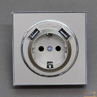 Изображение Розетка 1-я золото RH LAURA внутр.с заземл +2 USB HN-015248
