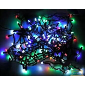 Изображение Гирлянда нить черный кабель разноцветная 100 ламп