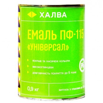 Изображение Эмаль ПФ-115 Универсал желтая 0,9л Халва