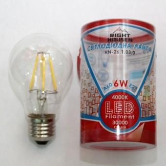 Изображение Лампа LED Right Hausen Filament A60 6W E27 4000K (HN-261030)