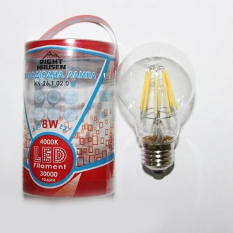Изображение Лампа LED Right Hausen Filament A60 8W E27 4000K (HN-261020)