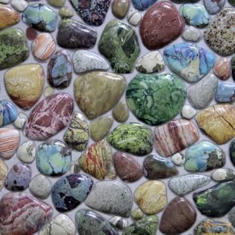 Изображение ПВХ панель Камень галька зеленая 959*488 мм