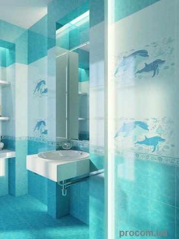 Аквариум - морская тематика прекрасно подойдет к интерьеру ванной комнаты