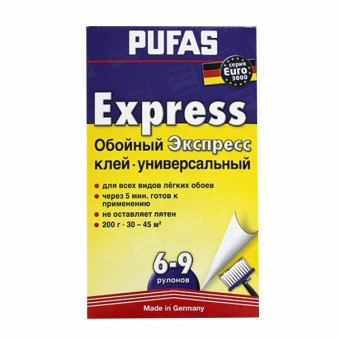 Изображение Клей для обоев Экспресс универсальный 200г Pufas euro 3000