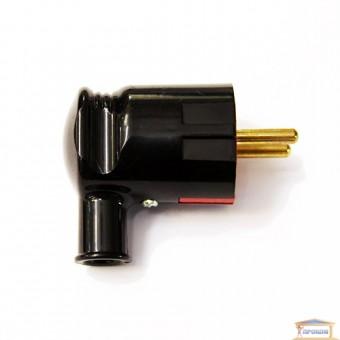 Изображение Вилка угловая с заземл. чёрная RH HN-021102