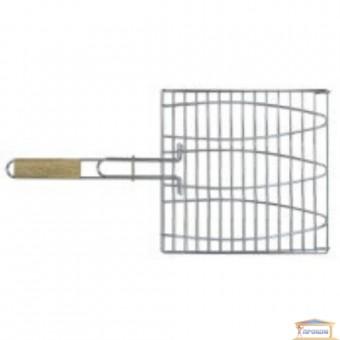 Изображение Решетка-гриль для рыбы 28*28см ручка дерево 55см 73-502