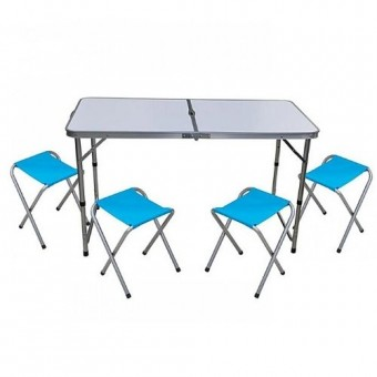 Изображение Стол раскладной МДФ 120*60*70см и 4 стула 73-811