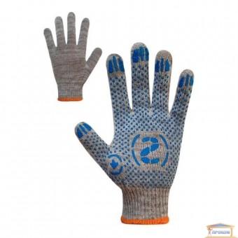 Изображение Перчатки трик.серые с ПВХ синего цвета 71502 купить в procom.ua