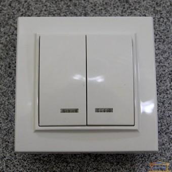 Изображение Выключатель 2-кл. внутр. белый с подсветкой Right Hausen KIRA (HN-016051) купить в procom.ua