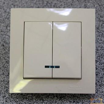 Изображение Выключатель 2-кл. внутр. кремовый с подсветкой Right Hausen Velena (HN-011053) купить в procom.ua