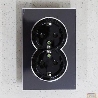 Изображение Розетка 2-я черная RH LAURA внутр. с заземл. (HN-015102)