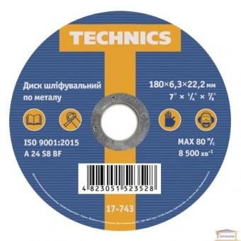 Изображение Диск шлифовальный по металлу Technics 180x6,3х22 17-743