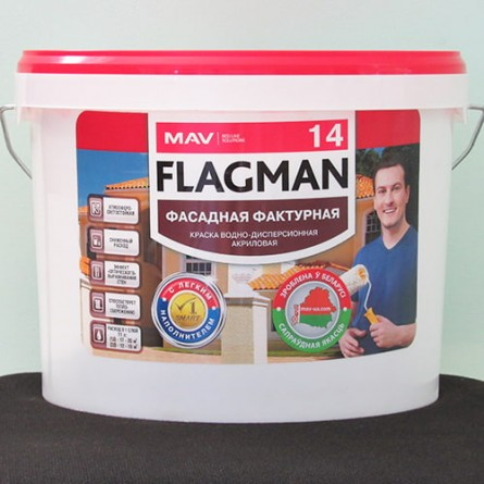 Изображение Краска FLAGMAN 14 фактурная для наружных и внутренних работ белая 11л купить в procom.ua - изображение 1