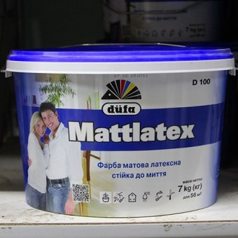 Изображение Краска латексная стойкая к мытью Dufa Mattlatex D100 5 л купить в procom.ua