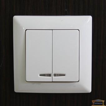 Изображение Выключатель 2-кл белый с подсветкой Lectris купить в procom.ua