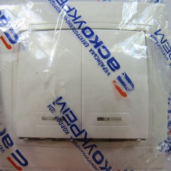 Изображение Выключатель 2-кл белый с подсветкой АСКО купить в procom.ua