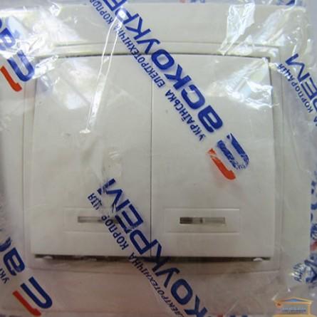 Изображение Выключатель 2-кл белый с подсветкой АСКО купить в procom.ua - изображение 1